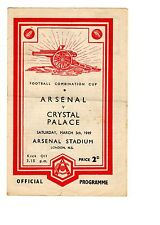 Arsenal v Crystal Palace Reserves Programme 5.3.1949 Combination Cup