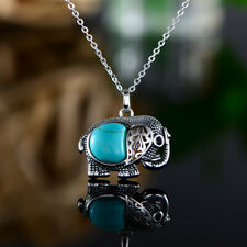Sevil Sterling Silver Elephant Pendant With Created Turquoise Stone Necklace