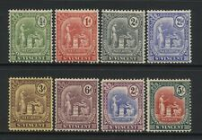St Vincent 1909 Collection 8 Seal of Colony Stamps Unused Mounted