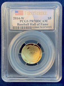 2014-W BASEBALL HALL OF FAME PCGS PR-70-DCAM $5 GOLD COIN, FIRST STRIKE LABEL