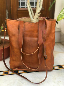 "14"" Women's Genuine Roomy Goat Leather Tote Shopping Handmade Bag"