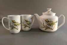 Vintage Enesco Teapot & Lid w/ 2 cups. SONG BIRD China 1976 Yellow Warbler
