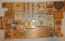 Rubber Stamp Lot 35 Wood Mounted Imagine That All Night Media Stampendous Mix 2