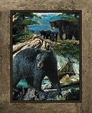 New Black Bear Essence Wild Wilngs Fabric Wall or Quilt Top Panel 100% Cotton