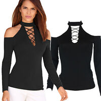 Sexy Women's Black Long Sleeve Tops Casual V-Neck Bandage OFF SHOULDER Blouse