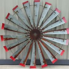 60 Inch Rustic Windmill Art with Red Tips