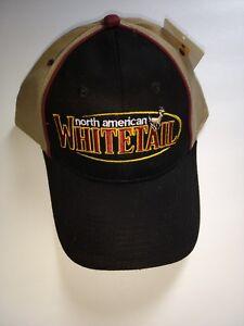 North American Whitetail Deer Hunting Outdoor Khaki Beige Black Hat Cap