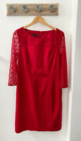Talbots Red Dot Mesh & Ponte Sheath Holiday Women's Dress Size 10 NWT