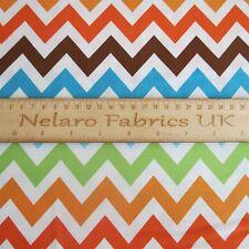 FQ Remix Bermuda Brown Orange Green Blue Chevron fabric by Robert Kaufman