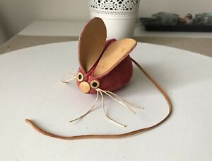 Vintage Faux Leather Rat Mouse Figure Animal Toy Small Souvenir Used