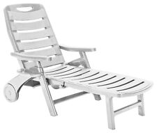 Rolling, Folding, Five Position Reclining Patio Sun Lounger or Deck Chair, White
