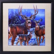 Gorgeous 5D Deer In Winter Painting In Wall Framed Art House, Cabin, Home Decor