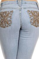 NWT Watch LA Light Blue Denim Boot Cut Low Rise Embroidered Pocket Jeans