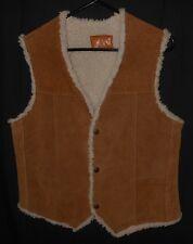 Vtg Trucker Vest Suede Leather Fleece Lined Sherpa Western Rodeo Cowboy 38