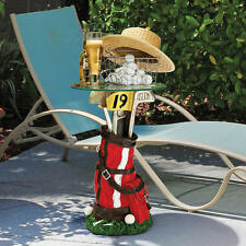 19th Hole Ready To Tee Up Golf Bag & Clubs Glass Top Accent Table