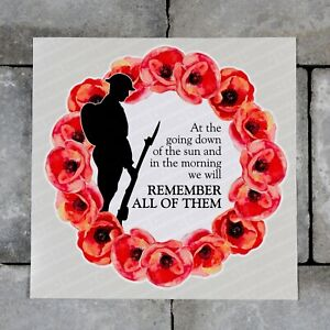 Lest We Forget - Remembrance Day Sticker Poppys - Wall Or Window Sticker - K