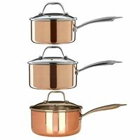 Minerva 3 Piece Saucepan Cookware Set Copper/Tri Ply Pots Pans Glass Lid