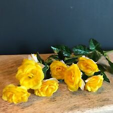 Stem of Yellow Artificial Mini Rose Buds, Silk Flowers, Realistic Faux Roses