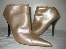 ROBERTO CAVALLI Yellow Gold Pointy Booties Shoes Size 37 / 6.5