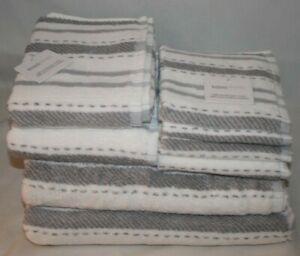 Kassa Moda Eight Piece White & Gray Stripes Bathroom Towel Set 100% Cotton New