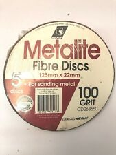 5 x METALITE FIBRE DISCS FOR METAL P100  (PACKS OF 5) 125 MM X 22 MM - NORTON
