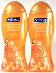 2 Bottles Softsoap 18 Oz Sweet Honeysuckle & Orange Peel Moisturizing Body Wash