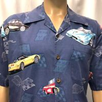 David Carey Shirt Mens Large Chevrolet Corvette Chevy Stingray Muscle Car Blue