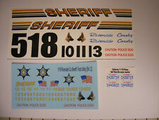 Riverside CA County Sheriff 1/18 Water Slide Decals Fits Explorer Crown Vic