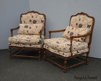 Pair of Vintage French Country Oak Accent Chairs w Blue Floral Fabric As-Is