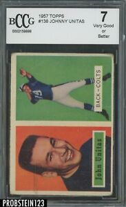 1957 Topps Football #138 Johnny Unitas Baltimore Colts RC Rookie HOF BCCG 7