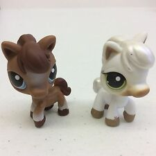 2 Littlest Pet Shop LPS Horses Brown Blue Eyes & White Greens Eyes #337 #338