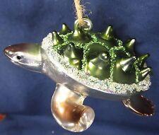Sea Turtle Thorn Shell Hand Blown Glass Ornament Nautical Decor