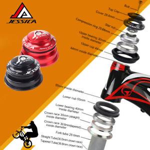 "JESSICA 34/44/44-55/44-56mm Headset MTB/Road Bike 1-1/8"" Threadless Black/Red"