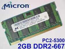 2GB DDR2-667 PC2-5300 200pin MICRON LAPTOP NOTEBOOK SODIMM RAM MEMORY SPEICHER