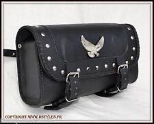 Alforja para horquilla tipo rulo maleta de piel Águila/clavos moto custom trike