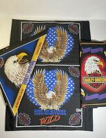 Vtg Harley Davidson Pillowcases & Bed Runners. American Legend Glory Eagle. USA