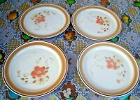 """4 Hand Decorated Stoneware Dinner Plates 10 5/8"""" Floral Coral Colors VTG Japan"""