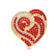 LUSSO Brillante Oro Cuore Rosso Amore Regalo Di Natale Spilla Cappotto PIN BR433