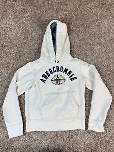 Abercrombie & Fitch White Pullover Hoodie Youth Boys Large