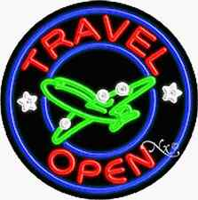 "Brand New ""Travel Open"" 26x26x3 Round Real Neon Sign w/Custom Options 11168"