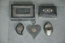 5 Pc Old Pewter/Antimony Different Handcrafted Silver Inlay Bidri Work Boxes