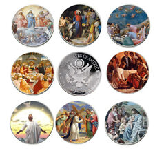 8pcs/set Jesus Commemorative Coin Set 999.9 Silver Plated Challenge Coin Gifts