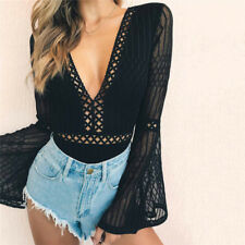 Women Lace Bodysuit Deep V Neck Playsuit Rompers Backless Long Sleeve Hollow Out