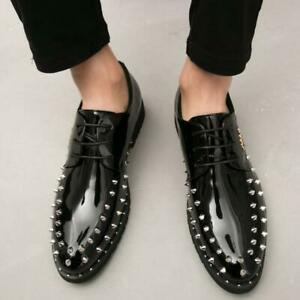 Black Punk Men's Pointy Toe Rivet Spike Lace Up Patent Leather Bussiness Formal