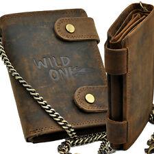 WILD ONE mit RFID-Schutz und Kette robustes Büffelleder Geldbörse Biker Trucker