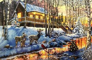 """DIMENSIONS Gold Collection """"Winter Cabin"""" Christmas Counted Cross Stitch Kit"""