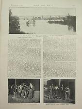 1898 PRINT ~ MODDER SPRUIT BRIDGE BOTHAS PASS BOERS LANCERS PAINTING SCABBARDS