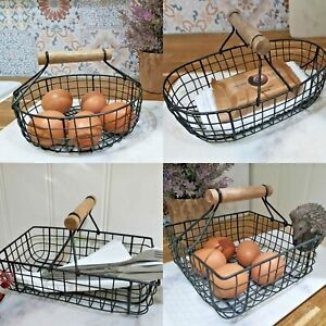 Small Wired Basket Egg Basket Farmhouse Basket Country Basket Choice of 4 Shapes