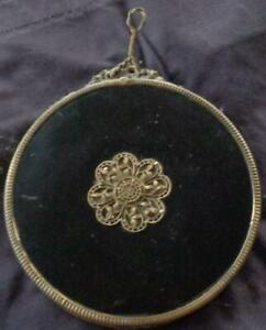 Beautiful Antique Beveled Mirror – LOVELY ORNATE BRASS FRAME – SMALL SIZE – HANG