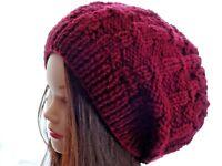 Hand Knitted Beanie Warm Winter Womens Men's Hat Australia Made